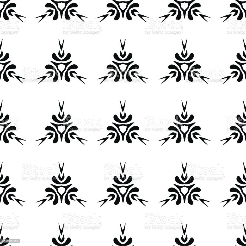 Ethnic seamless black pattern on white background vector art illustration