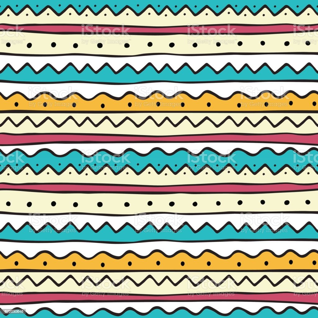 Ethnic seamless pattern in hand drawn doodle style vector art illustration