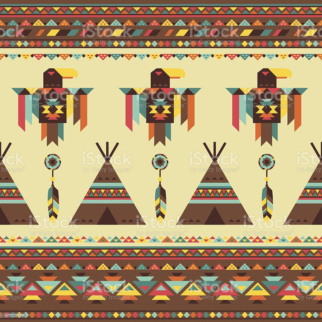 Ethnic seamless pattern in native style. vector art illustration
