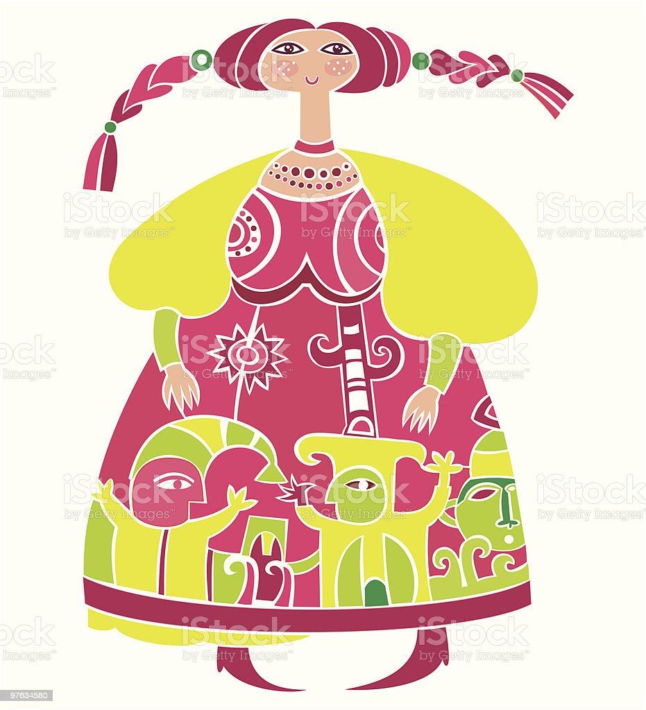 Ethnic Slavonic girl series royalty-free stock vector art