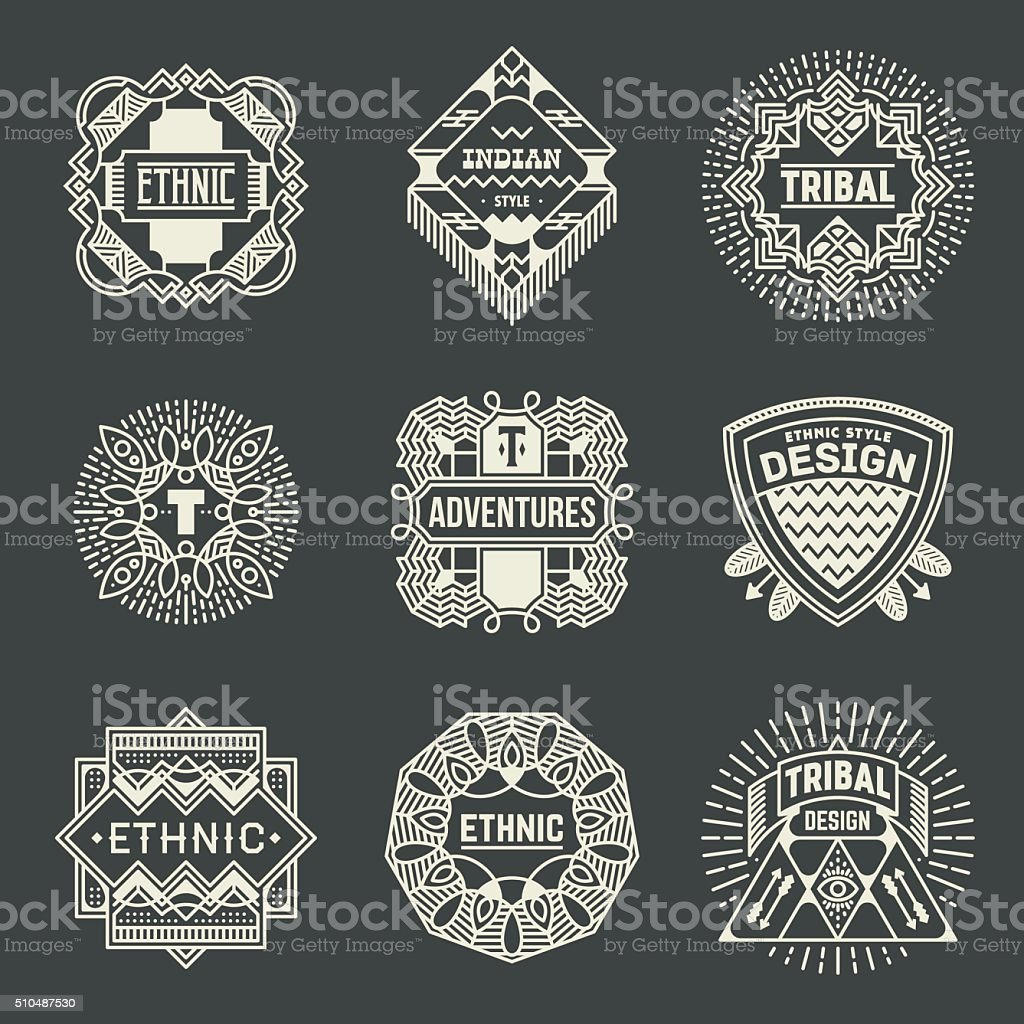 Ethnic Tribal Insignias Logotypes Template Set. vector art illustration