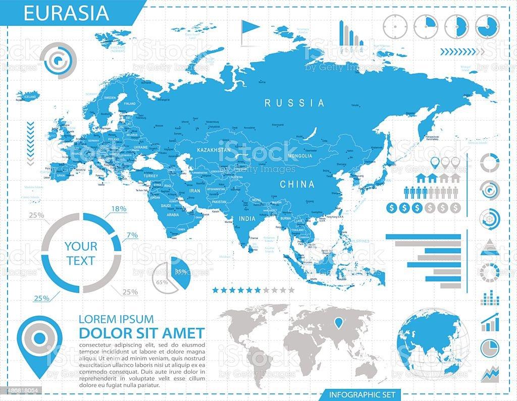 Eurasia - infographic map - Illustration vector art illustration