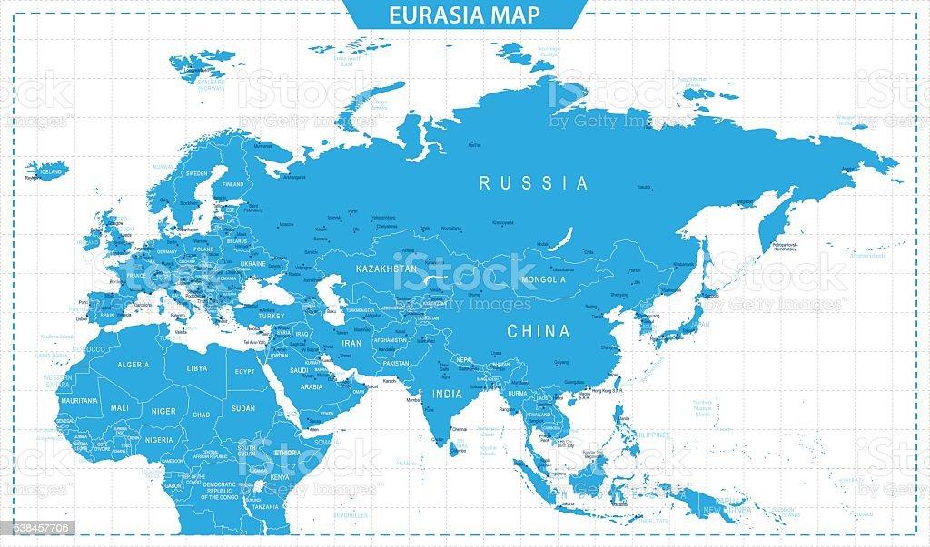 Eurasia Map - illustration vector art illustration