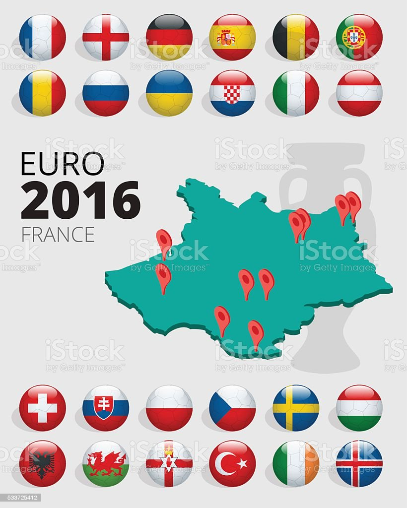 Euro 2016 in France vector art illustration