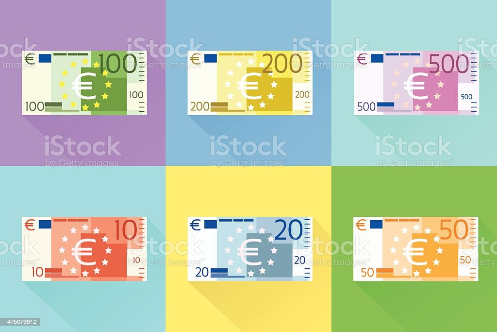 Euro Banknote Set Flat Design with Shadow Vector vector art illustration