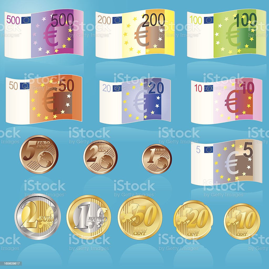 Euro Banknoten und Muenzen royalty-free stock vector art