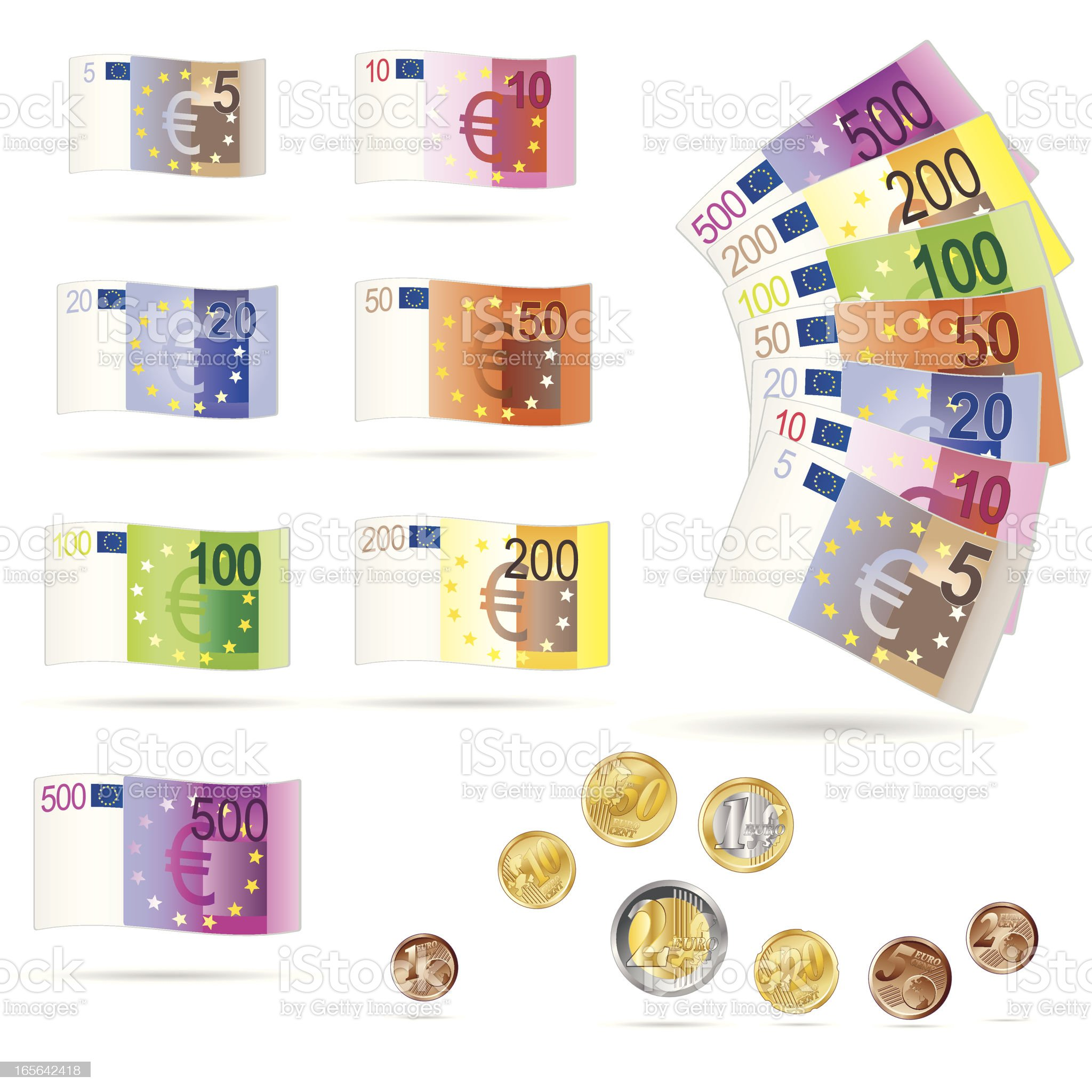 Euro bills and coins collection royalty-free stock vector art