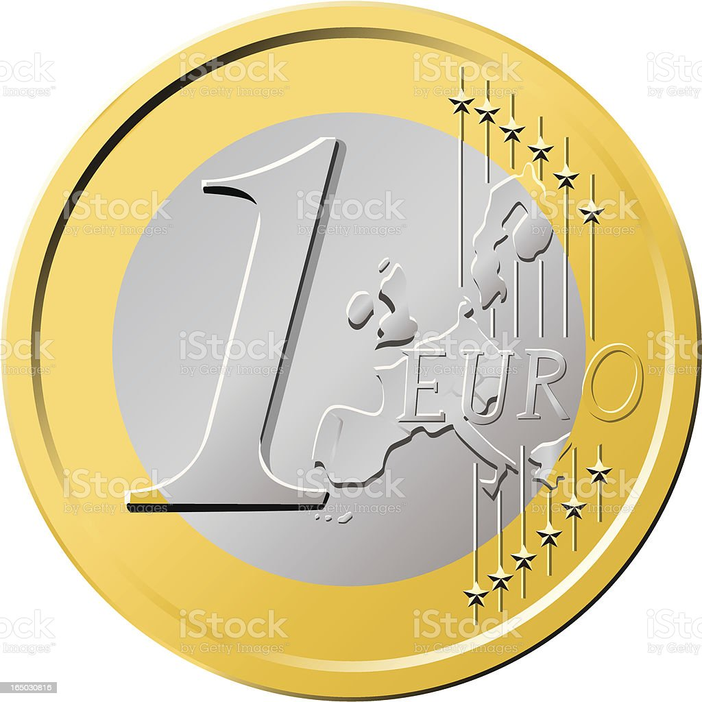 Euro Coin One royalty-free stock vector art