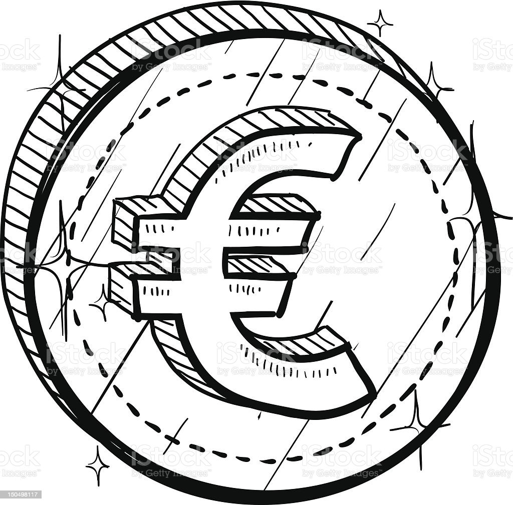 Euro currency symbol on coin sketch royalty-free stock vector art