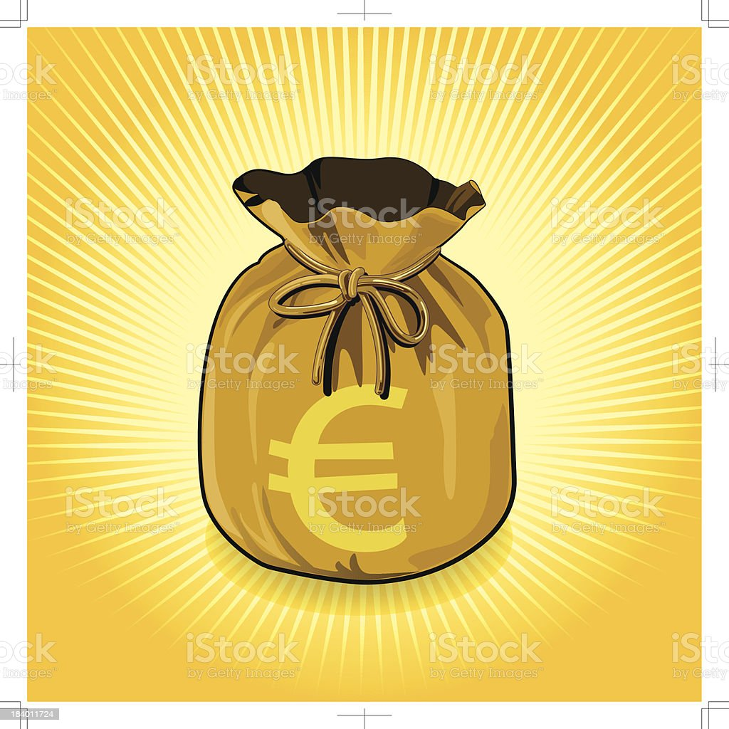 Euro Dollar Gold Bag of Money Save for Success. royalty-free stock vector art