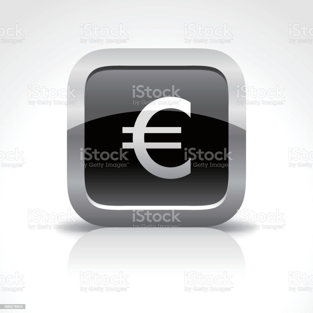 Euro Dollar Sign Glossy Button Icon vector art illustration