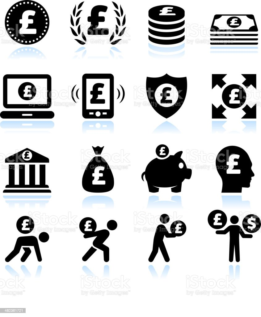 Euro Finance and Money Black & White vector icon set royalty-free stock vector art