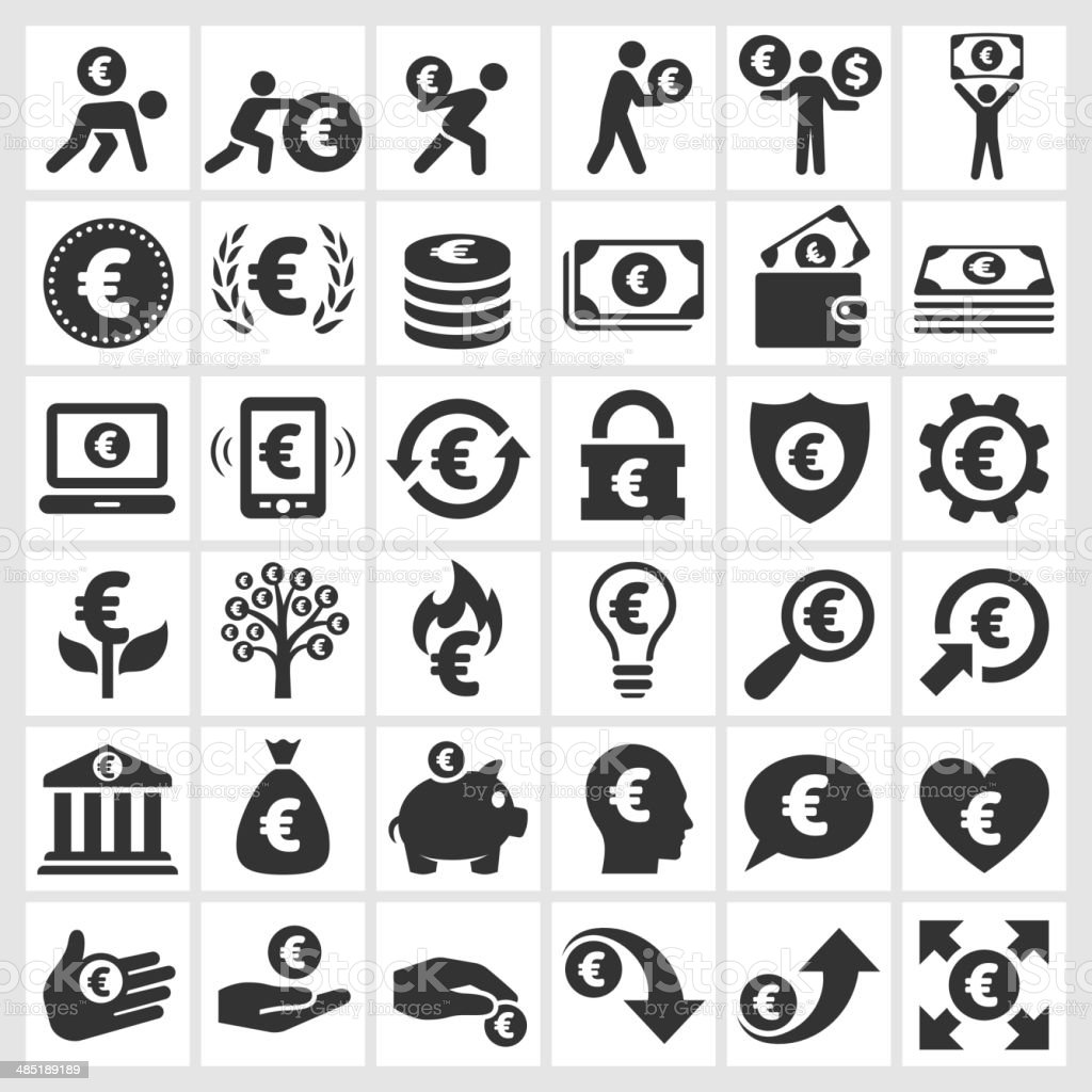 Euro Finance & Money black and white vector icon set vector art illustration
