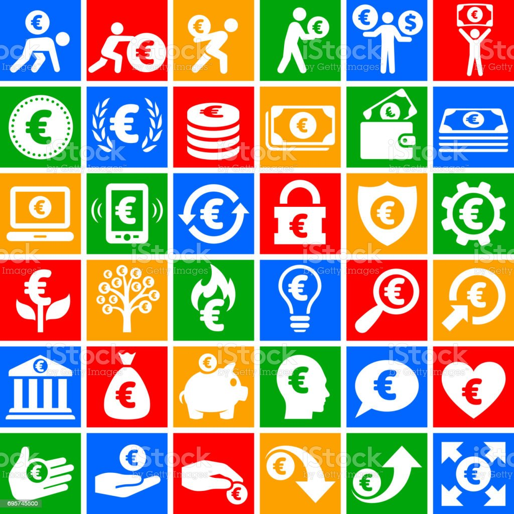Euro Finance & Money  vector icon set on Chalkboard vector art illustration