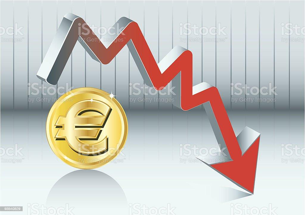 euro fluctuation vector art illustration