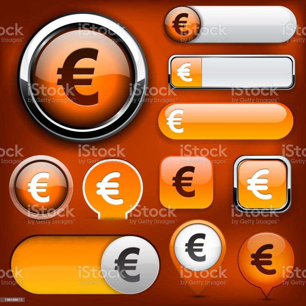 Euro high-detailed web button collection. royalty-free stock vector art