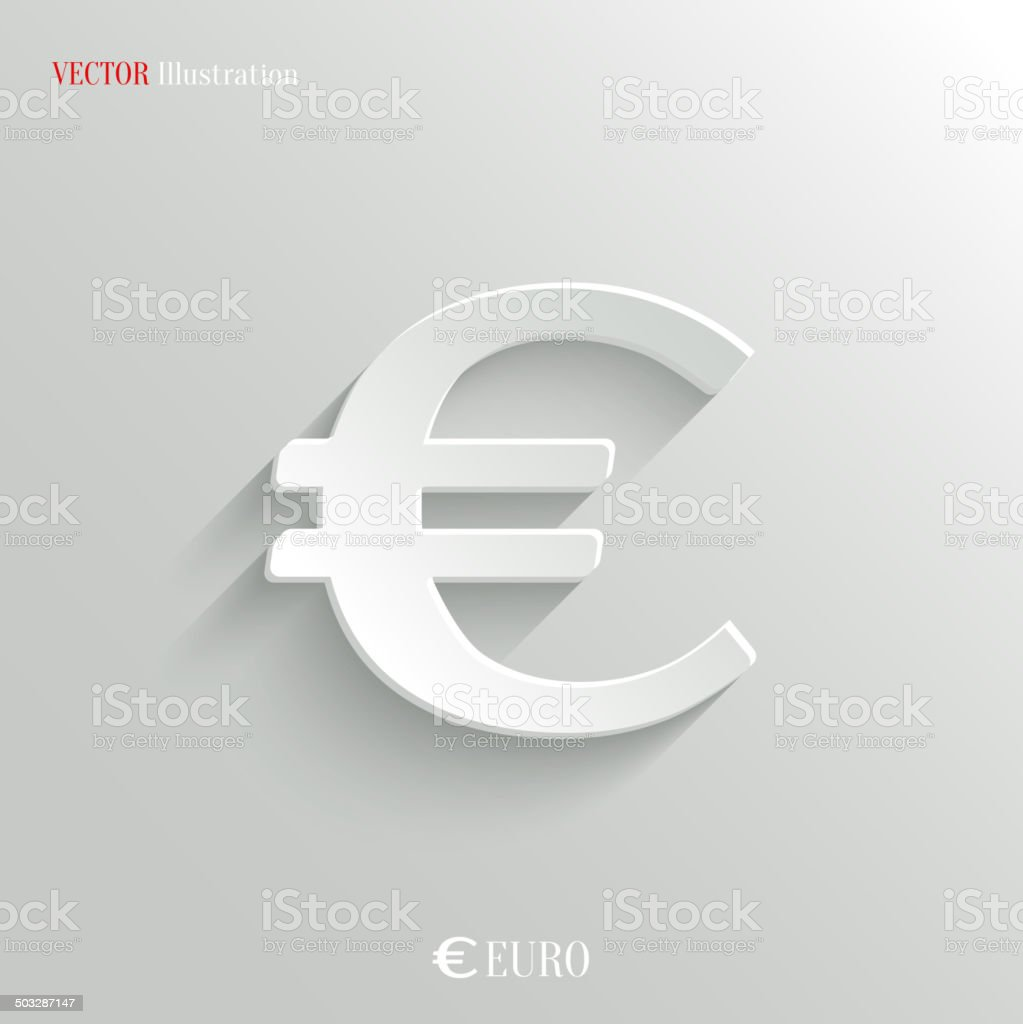 Euro Icon - vector white app button vector art illustration