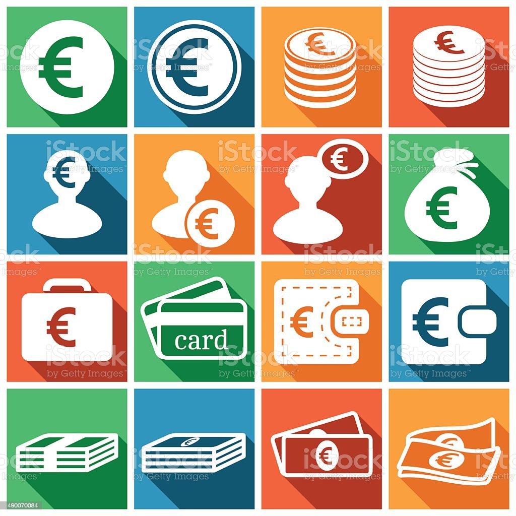 Euro icons vector art illustration