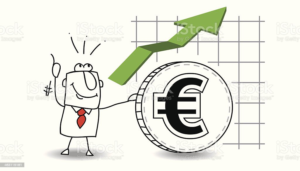 Euro is growing up vector art illustration