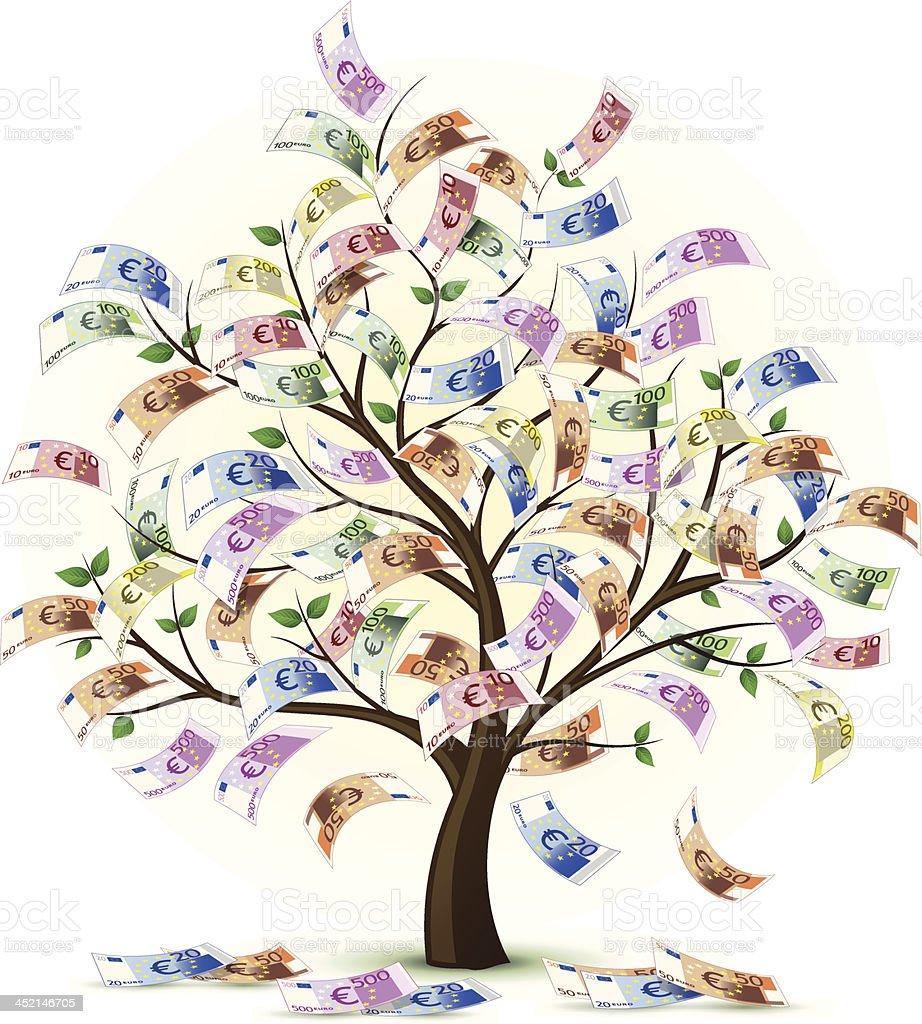 Euro Money Tree Vector vector art illustration