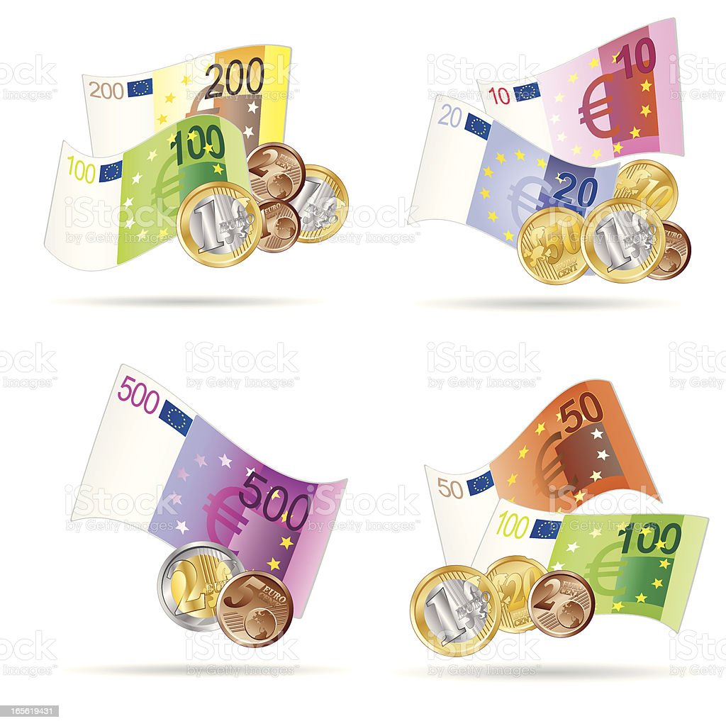 Euro Notes and Coins royalty-free stock vector art