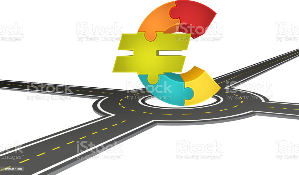 Euro on the crossroad royalty-free stock vector art