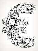 Euro on Time and Clock Vector Icon Pattern