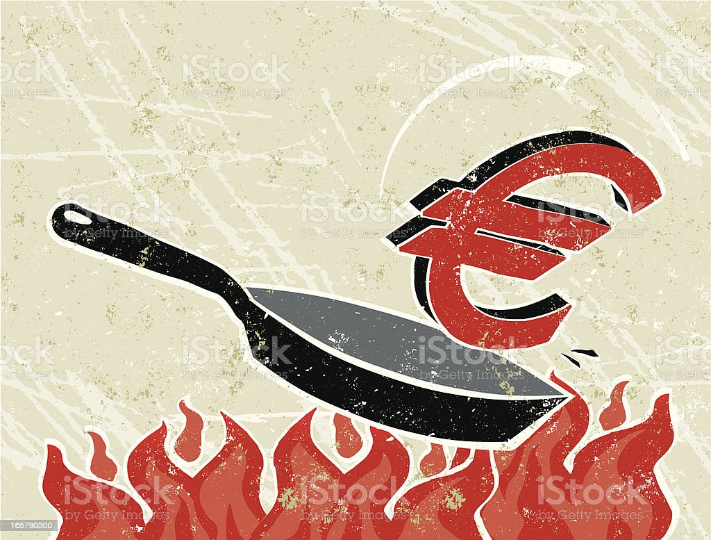 Euro Out of a Frying Pan into The Fire royalty-free stock vector art