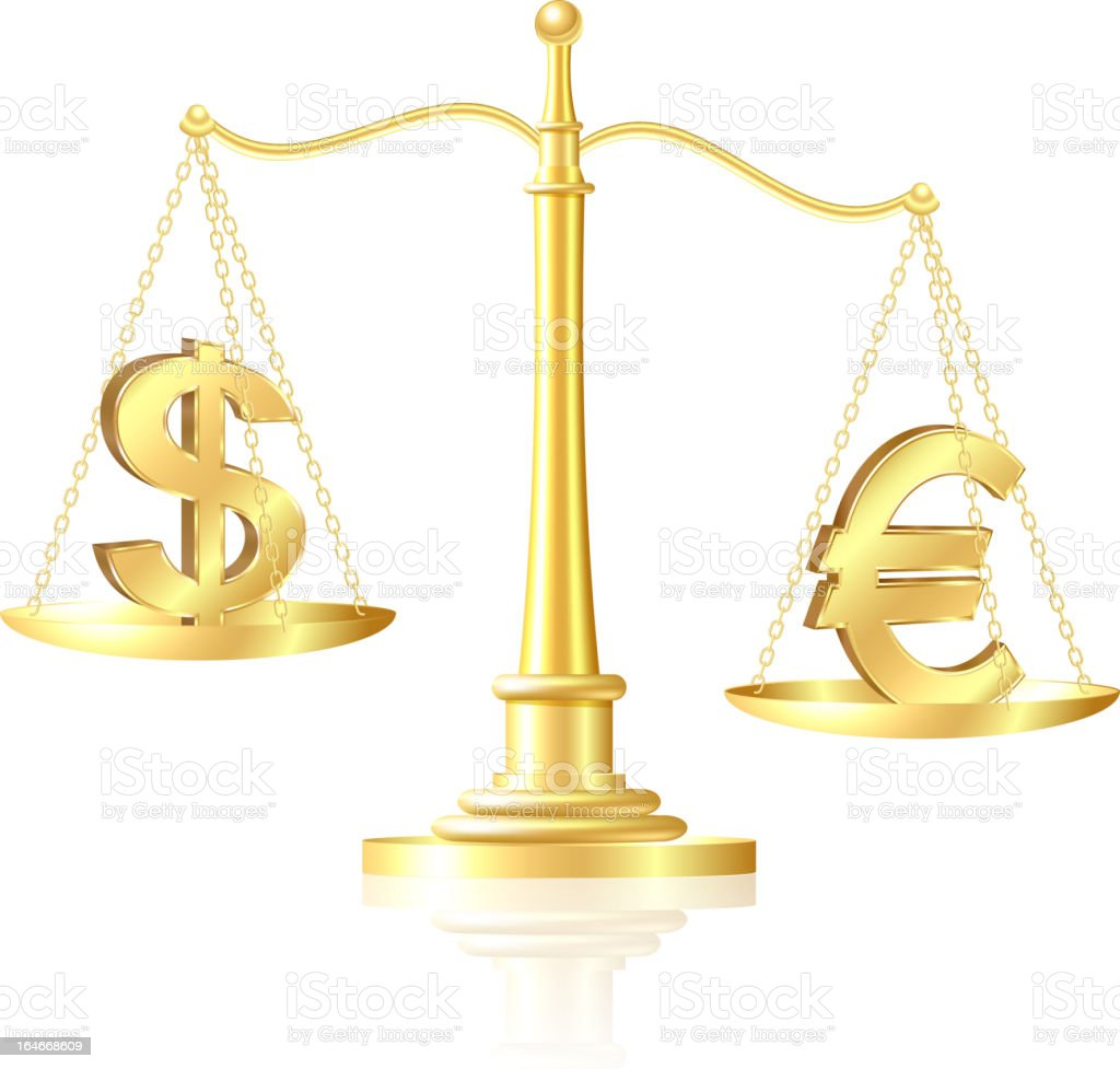 Euro outweighs Dollar on scales. royalty-free stock vector art