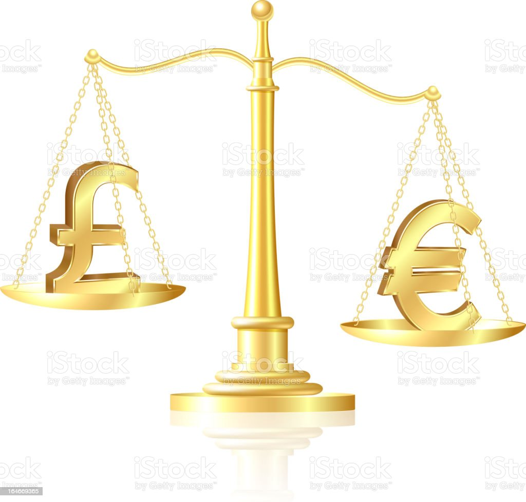 Euro outweighs pound sterling on scales. royalty-free stock vector art