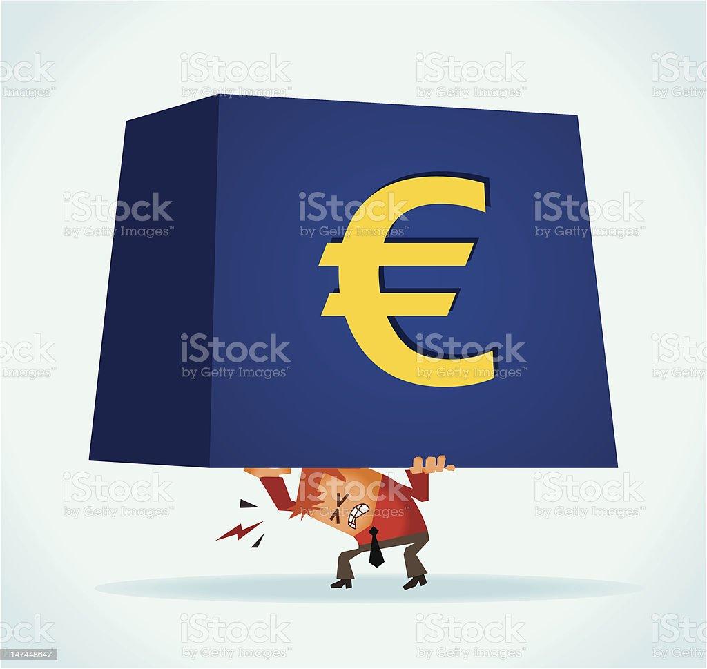 Euro overburdened royalty-free stock vector art