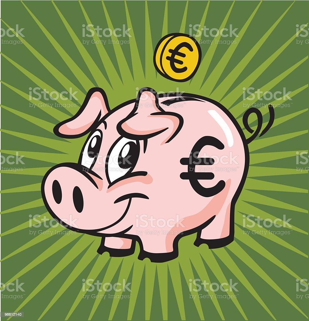 Euro Piggy Bank royalty-free stock vector art