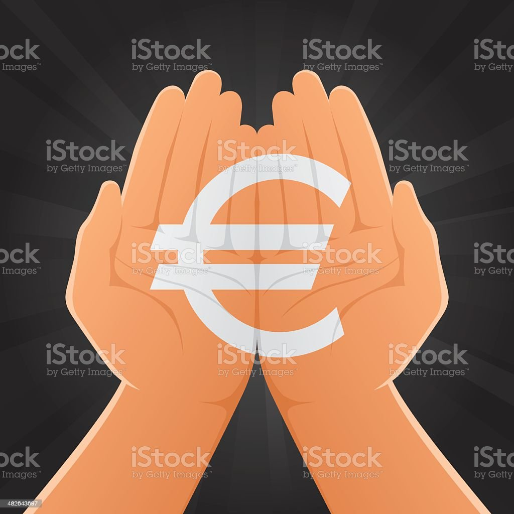 Euro Sign Painted on Hands royalty-free stock vector art