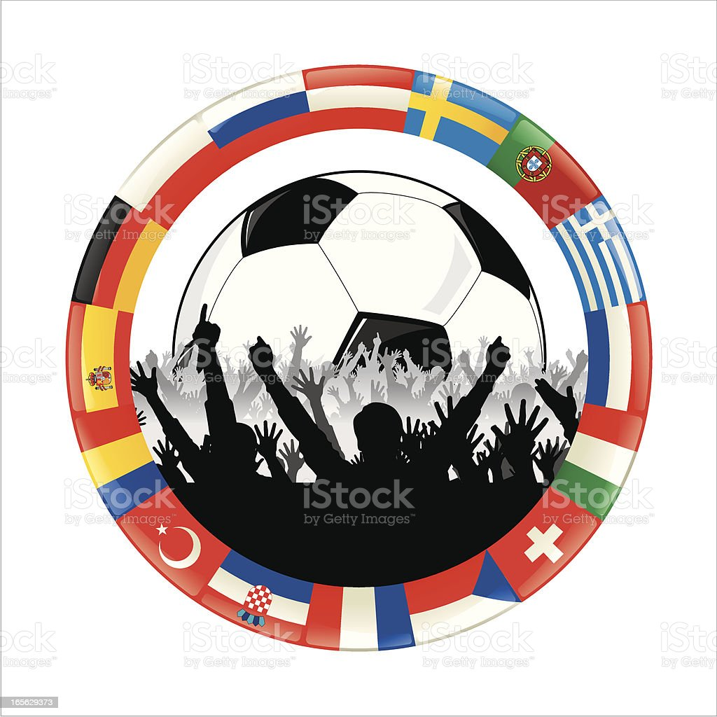 Euro soccer fans royalty-free stock vector art