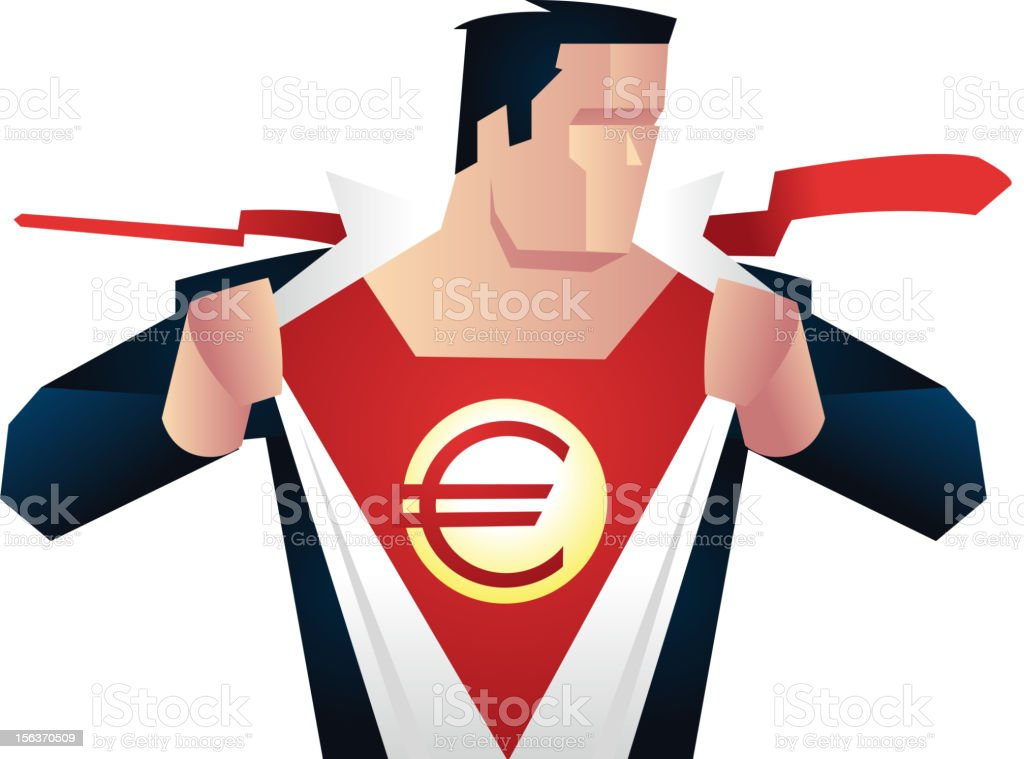 Euro Superhero ready for action. royalty-free stock vector art