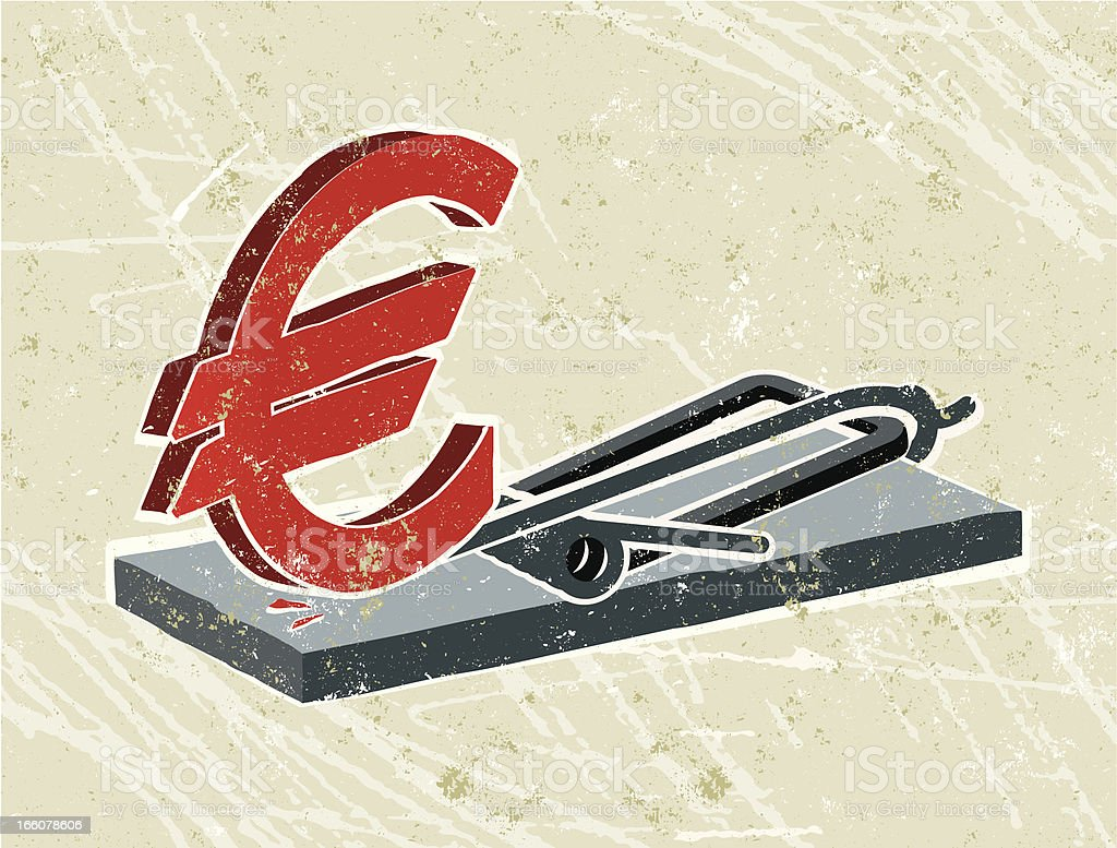 Euro Symbol and mousetrap royalty-free stock vector art
