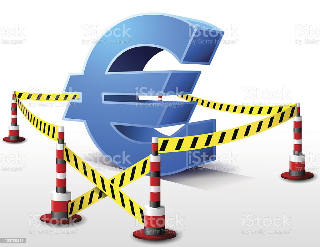 Euro symbol located in restricted area royalty-free stock vector art
