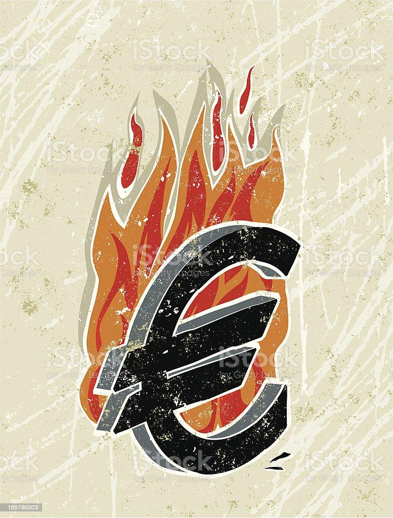 Euro Symbol on Fire royalty-free stock vector art