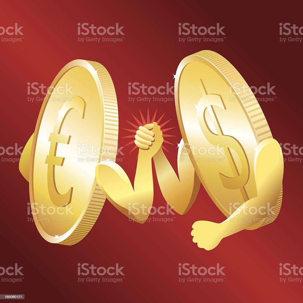 Euro vs Dollar royalty-free stock vector art