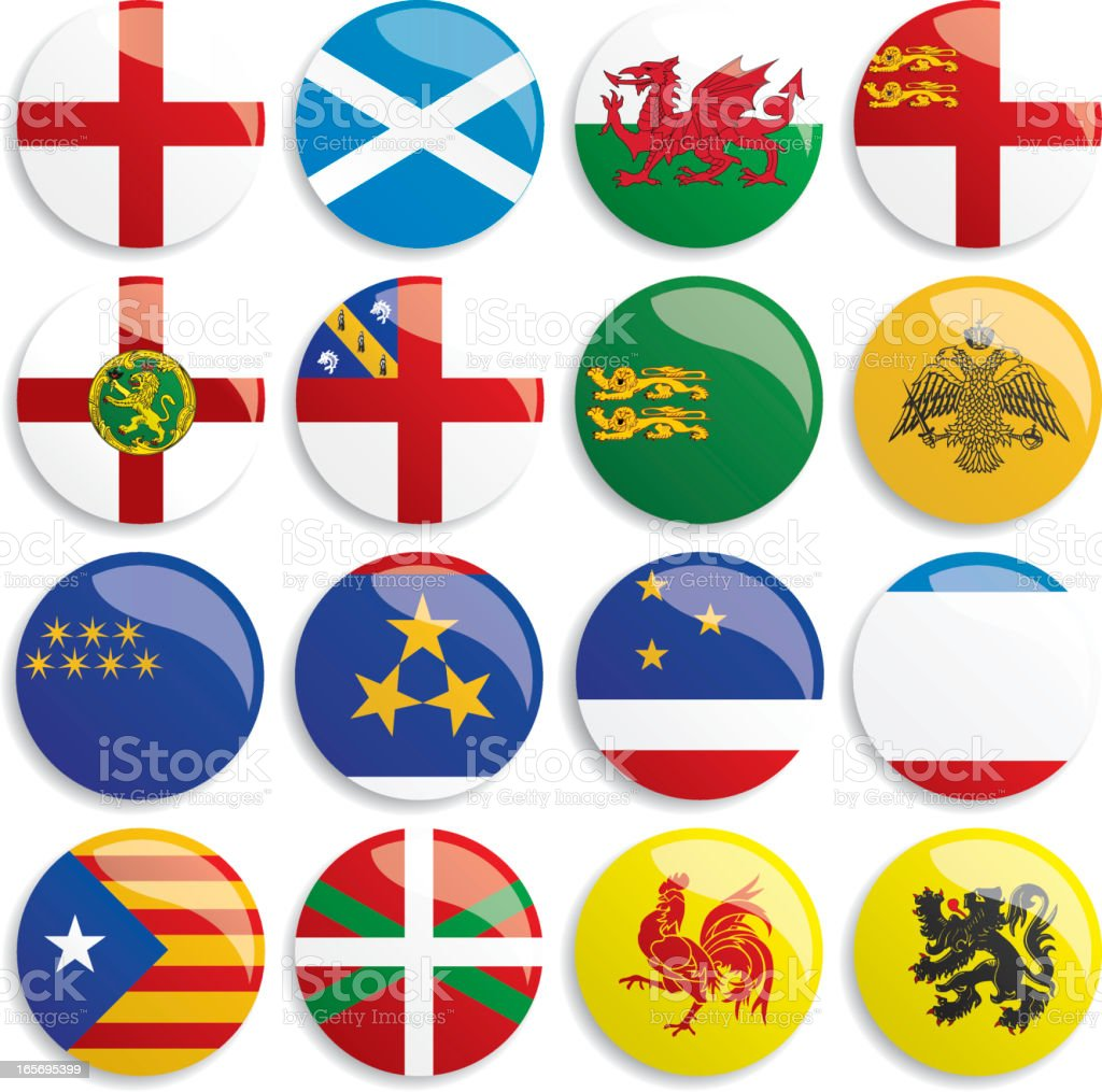 Europa flags buttons vector art illustration