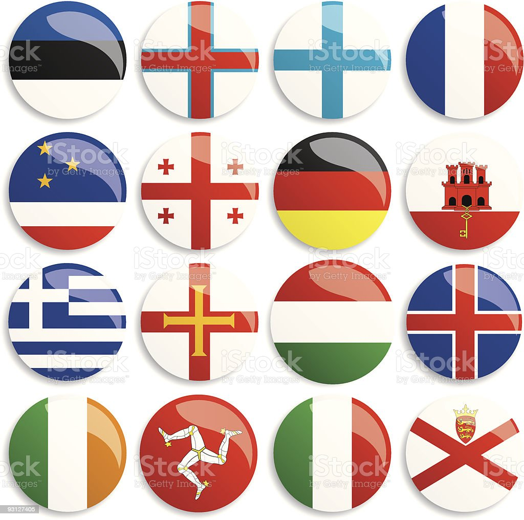 Europa flags buttons royalty-free stock vector art