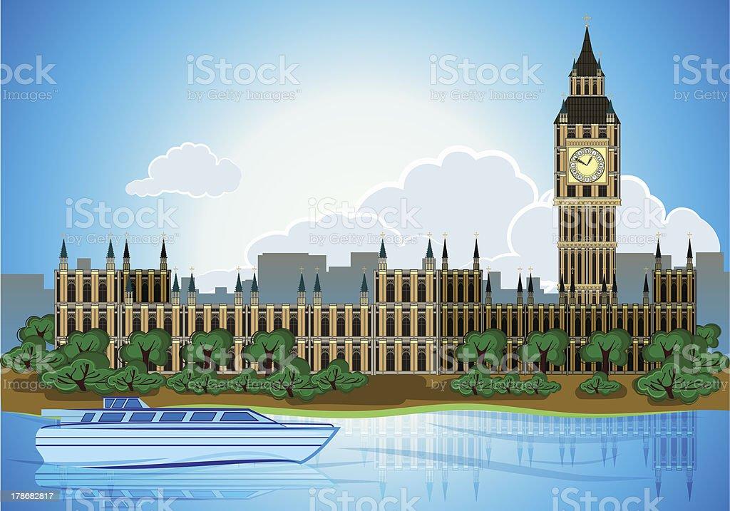 Europa skyline city capital London background vector art illustration