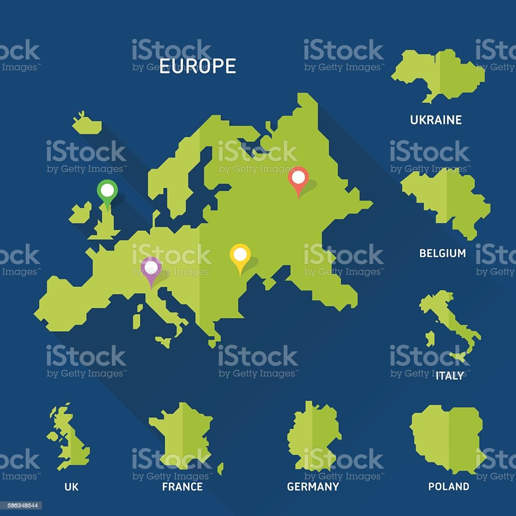 Europe and Europeian countries map vector vector art illustration