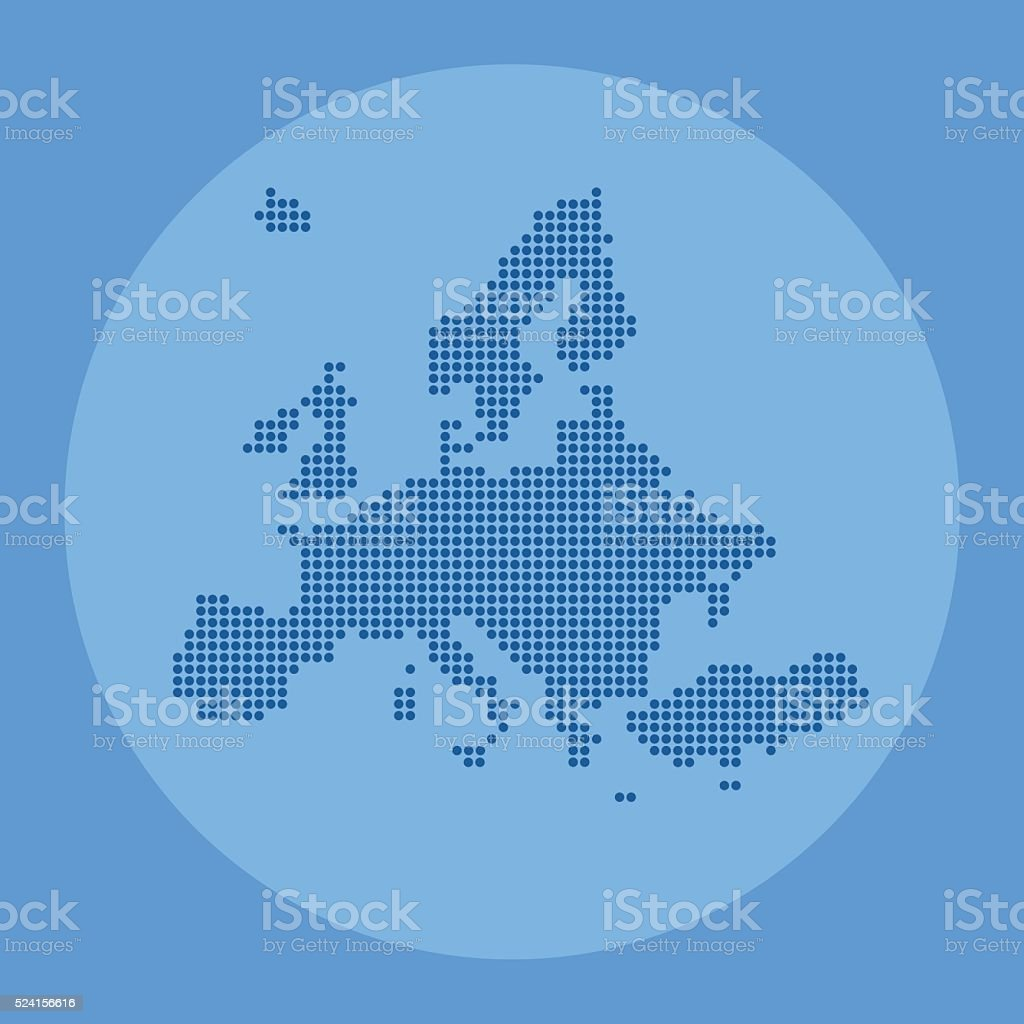 Europe blue dotted map on circlular background vector art illustration