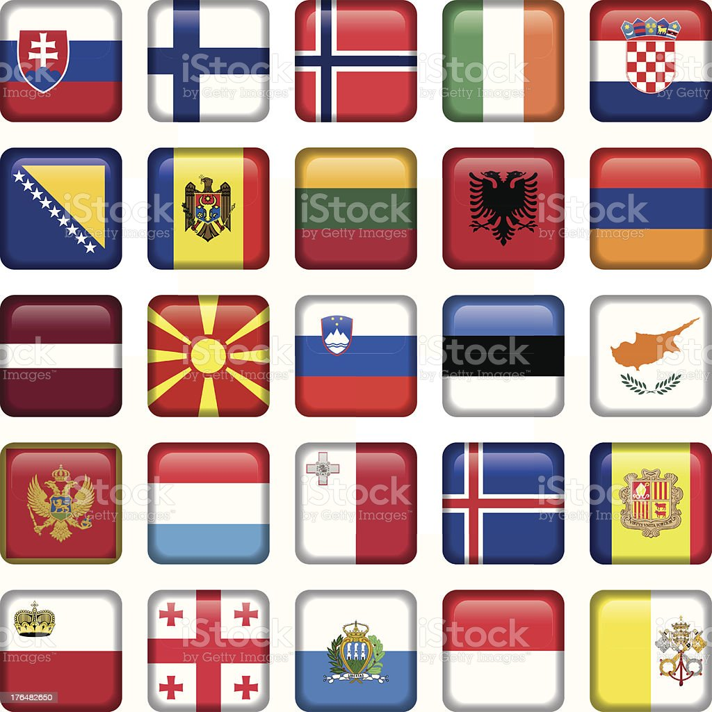 Europe Buttons Square Flags royalty-free stock vector art