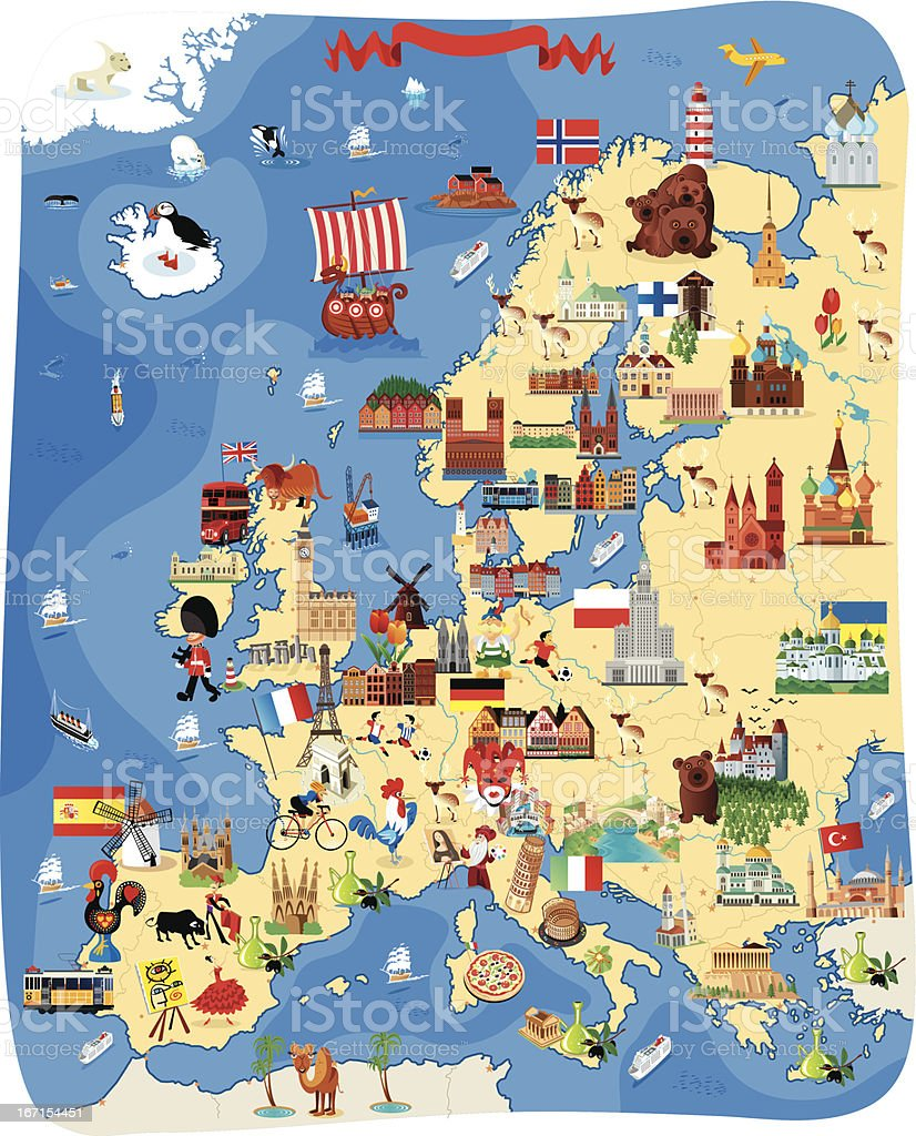 Europe Cartoon map vector art illustration