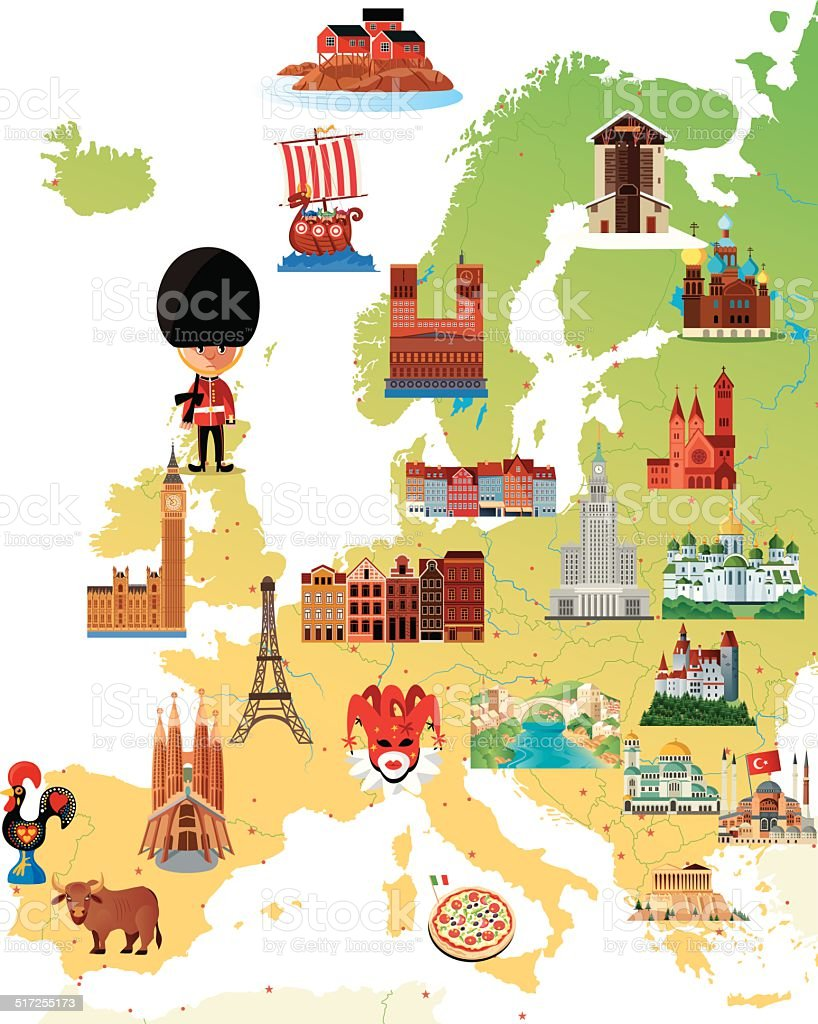 Europe Cartoon map vector art illustration