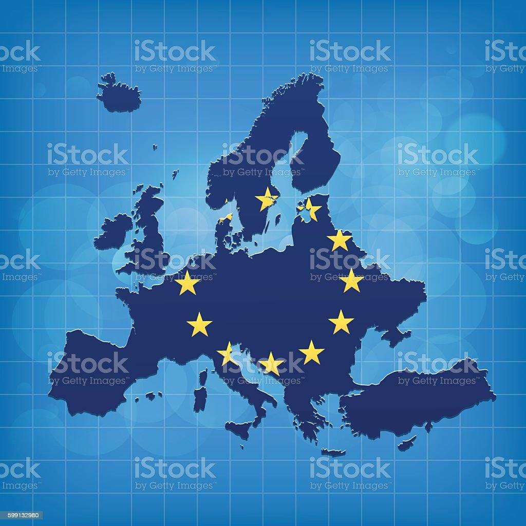 Europe EU map with flag on blue grid matrix background vector art illustration