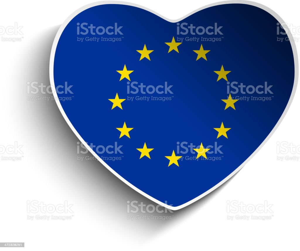 Europe Flag Heart Paper Button royalty-free stock vector art