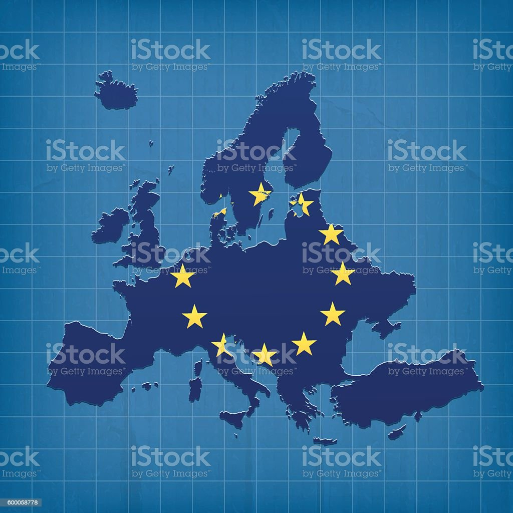 Europe flag map made on blue grunge cardboard paper background vector art illustration